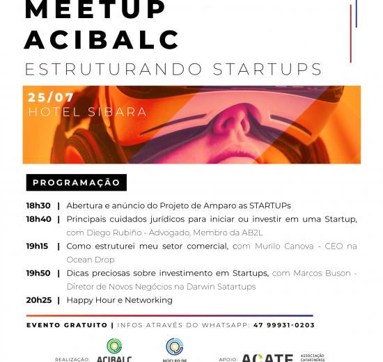 1º Meetup Acibalc abordará a estruturação de novas startups