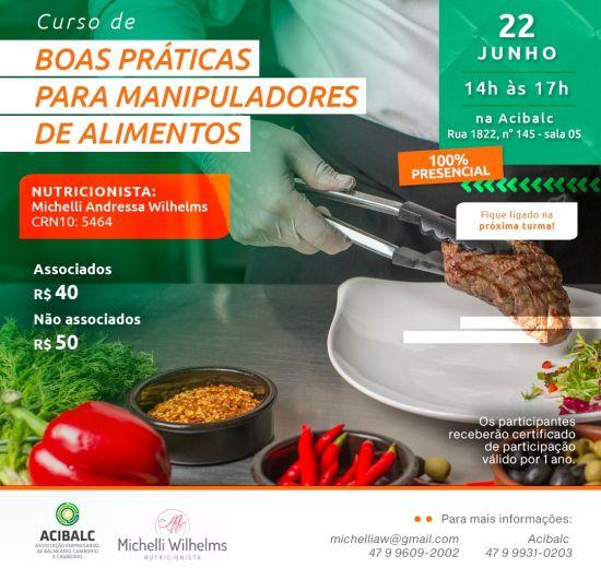 Acibalc abre inscrições para curso presencial de Boas Práticas para Manipuladores de Alimentos