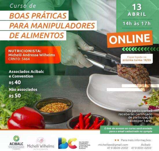 Acibalc abre inscrições para o 1º Curso de Boas Práticas para Manipuladores de Alimentos de 2021