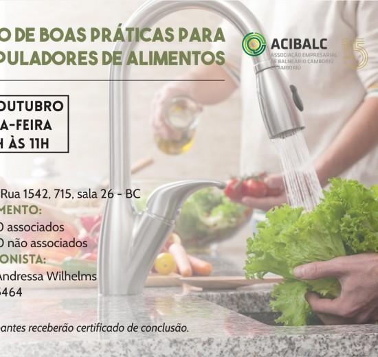 Acibalc oferece capacitação de boas práticas alimentares em outubro e novembro