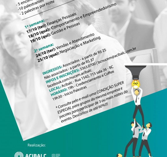 """Acibalc promove """"1º Seminário para o Desenvolvimento do Empreendedor"""" em Balneário Camboriú"""