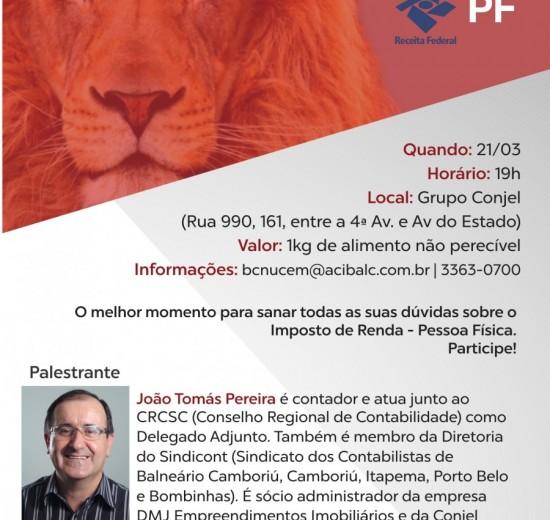 Acibalc promove palestra gratuita sobre Imposto de Renda 2017