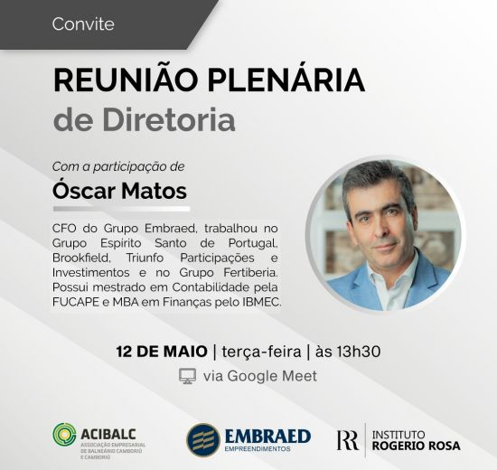 Acibalc promove reunião plenária online com participação do Diretor Financeiro da Embraed nesta terça-feira