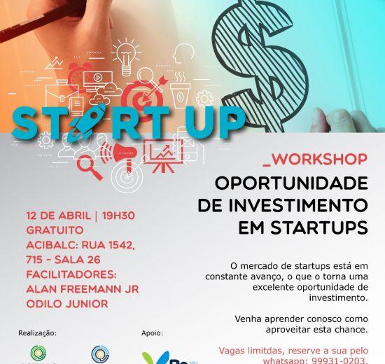 Acibalc promove workshop sobre como investir em startups