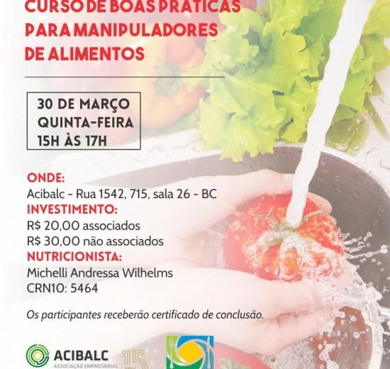 Acibalc realiza 1ª capacitação de boas práticas para manipuladores de alimentos do ano