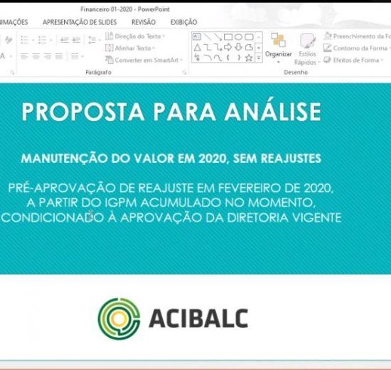 Em Assembleia Geral Ordinária online, contas do quadrimestre da Acibalc são aprovadas