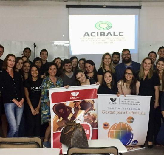 Gestão para a Cidadania: alunos da Univali colaboram com a gestão da Acibalc