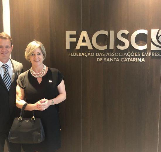 Presidente da Acibalc prestigia inauguração da nova sede da Facisc e participa de reunião do conselho diretivo da Federação